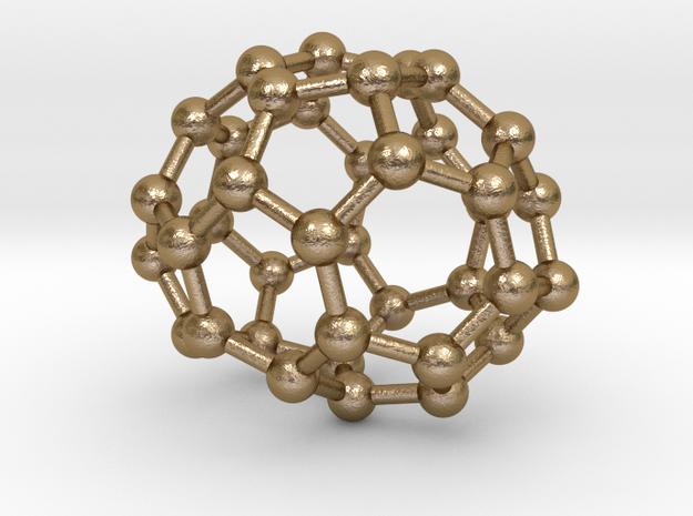 0091 Fullerene c38-10 c2 in Polished Gold Steel