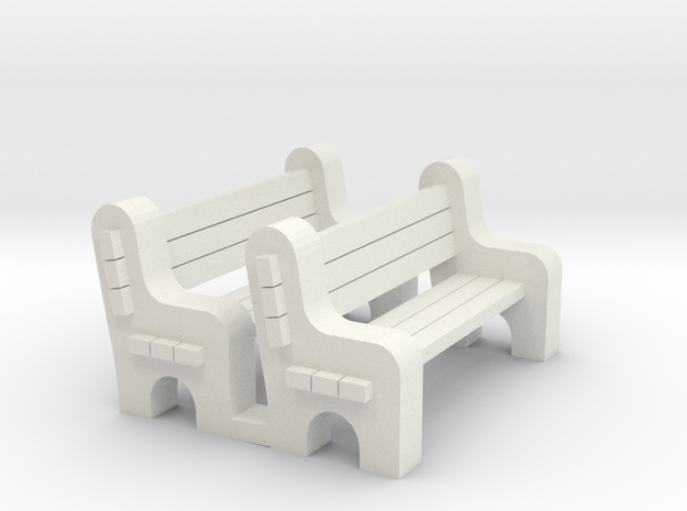 Street Bench - Qty (2) HO 87:1 Scale in White Natural Versatile Plastic