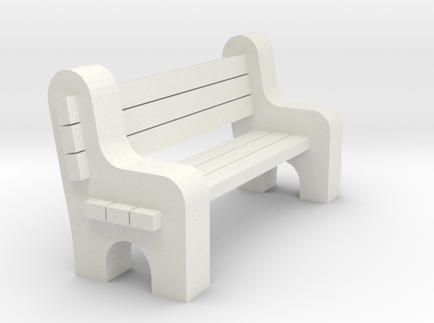 Street Bench - Qty (1) HO 87:1 Scale in White Natural Versatile Plastic