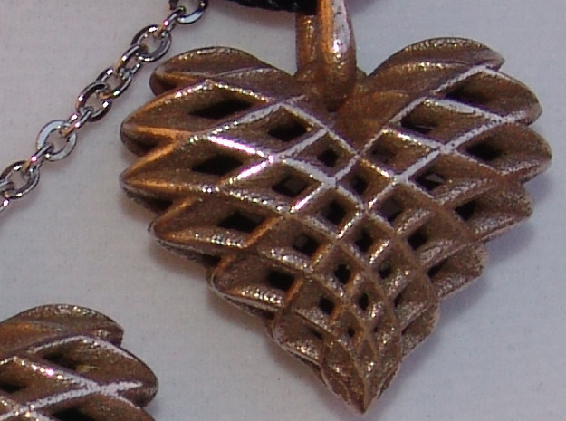 Heart Pendant Dual Twist Small in Polished Bronzed Silver Steel