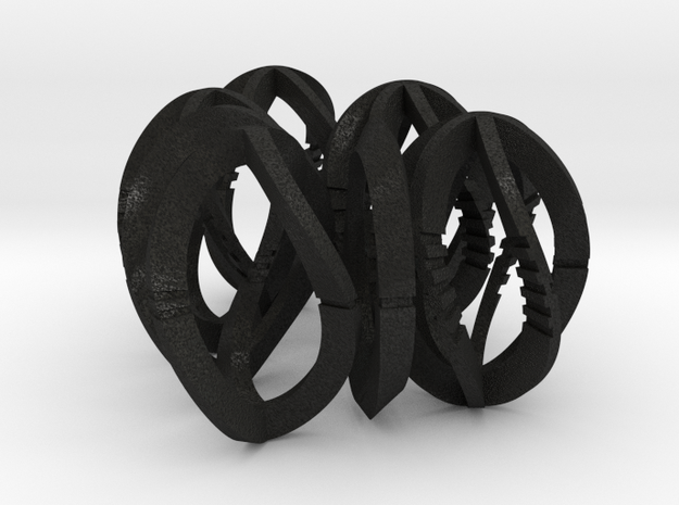 Modern Art Dice Set - 3/4 Scale D1-D7 in Black Acrylic