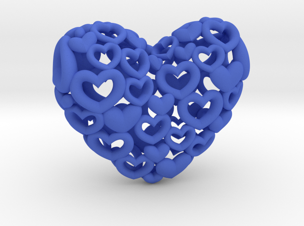 Heart by Heart 35mm Pendant. 3d printed blue Hearts