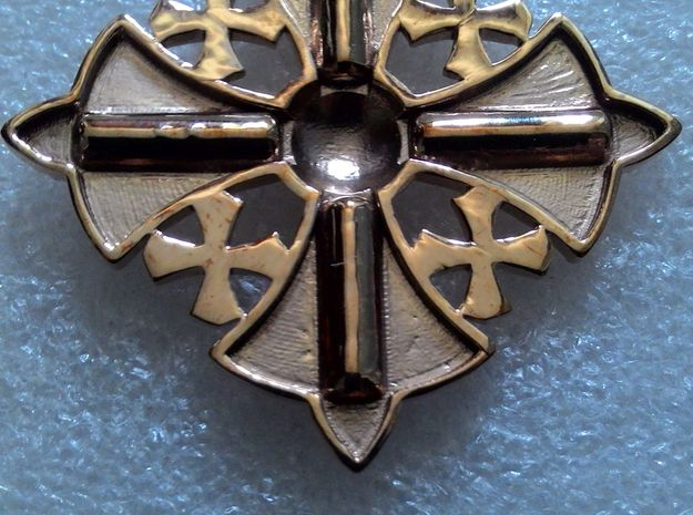 Jerusalem Cross Pendant  in Polished Bronze