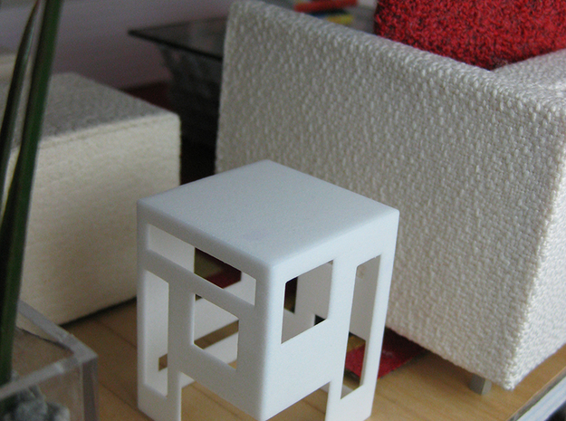 Slotted 1:12 scale Side Table 3d printed White Strong & Flexible Polished