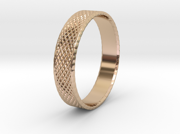 0102 Lissajous Figure Ring (Size10, 19.8mm) #003 in 14k Rose Gold Plated Brass