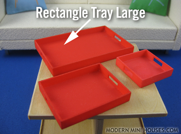 Rectangle Tray Large 1:12 scale in White Processed Versatile Plastic