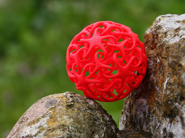 Knotted Star Ball in Red Processed Versatile Plastic