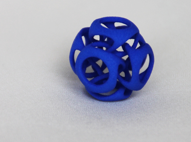 Tangled Cube Pendant in Blue Processed Versatile Plastic