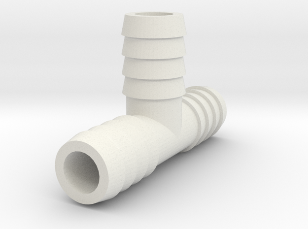 1/2 Inch Tee Barb in White Natural Versatile Plastic
