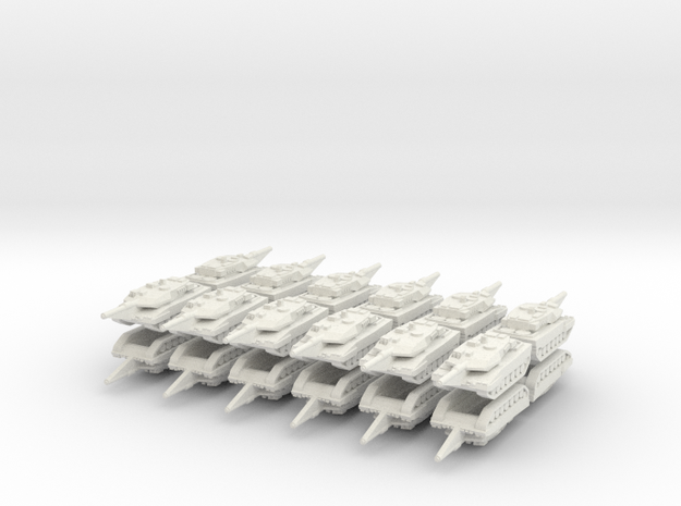 3mm Leopard 2A6 Tanks (24pcs) in White Strong & Flexible