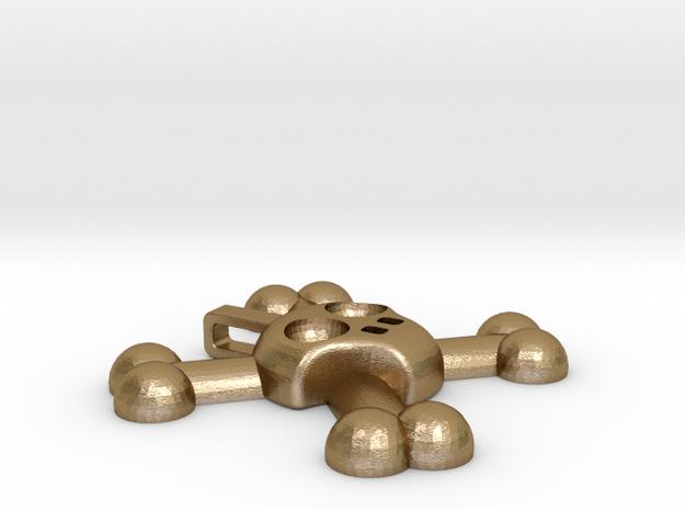 Skull and Crossbones Pendant in Polished Gold Steel