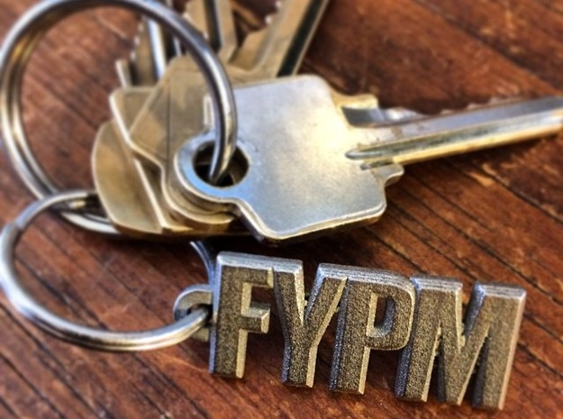 FYPM Keychain  in Polished Bronzed Silver Steel