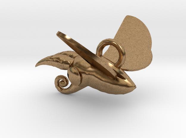 New Zealand Puriri Moth charm  in Natural Brass