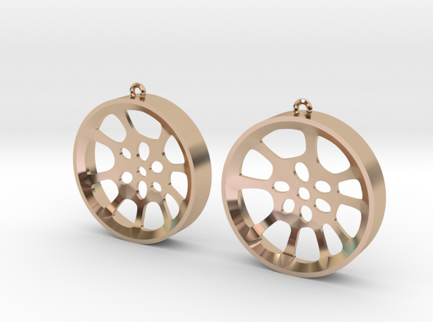 "Double Seconds ""void"" steelpan earrings, L in 14k Rose Gold Plated"
