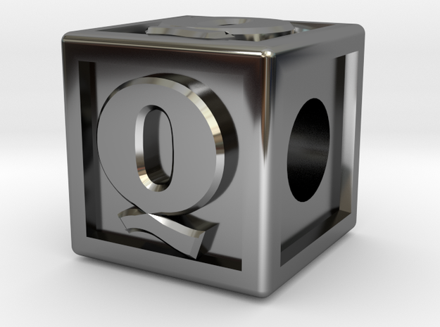 "Name Pieces; Letter ""Q"" in Fine Detail Polished Silver"