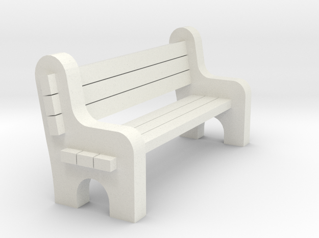 Street Bench - 'G' Scale 22.5:1  in White Natural Versatile Plastic