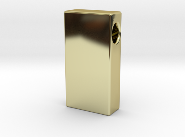 Gold Brick Pendant  in 18k Gold Plated Brass