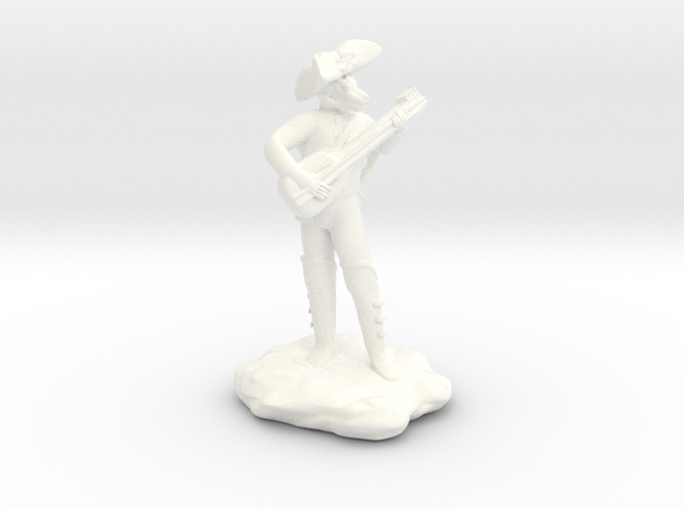 Dragonborn Pirate Bard with Lute and Crossbow in White Processed Versatile Plastic