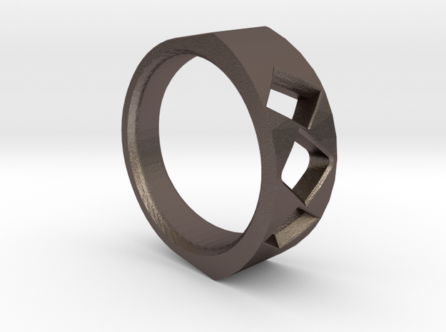 Lite Ring model 2.2 in Polished Bronzed Silver Steel
