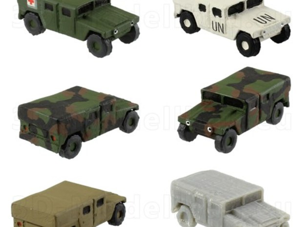 1/285 US Army M1035 Humvee HMMWV Hummer H1 in Smooth Fine Detail Plastic