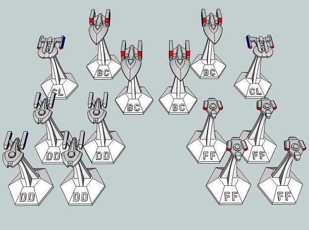 MicroFleet TNG Coalition Fast Attack Group (14pcs) in Smooth Fine Detail Plastic