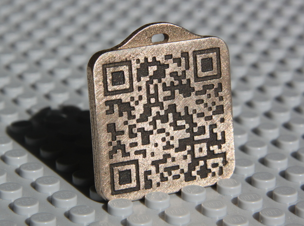 Keychain with Your Own Bitcoin QR code in Polished Bronzed Silver Steel