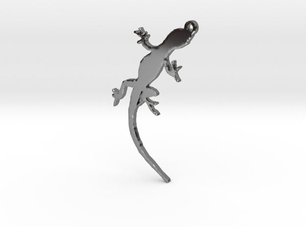 Gecko Crawling Necklace Pendant in Fine Detail Polished Silver