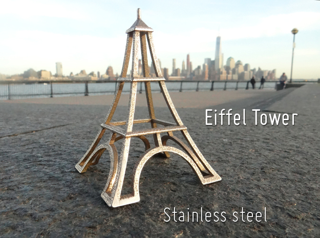 Eiffel Tower Desk Toy in Polished Bronzed Silver Steel