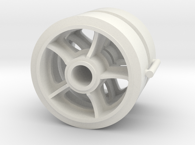 Two 1/16 scale 5 spoked M4 Sherman wheels  in White Natural Versatile Plastic