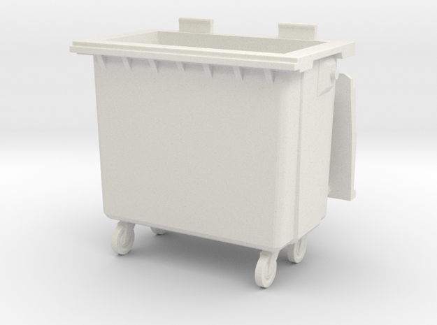 Trash bin with wheels. Version 01. Scale O in White Strong & Flexible