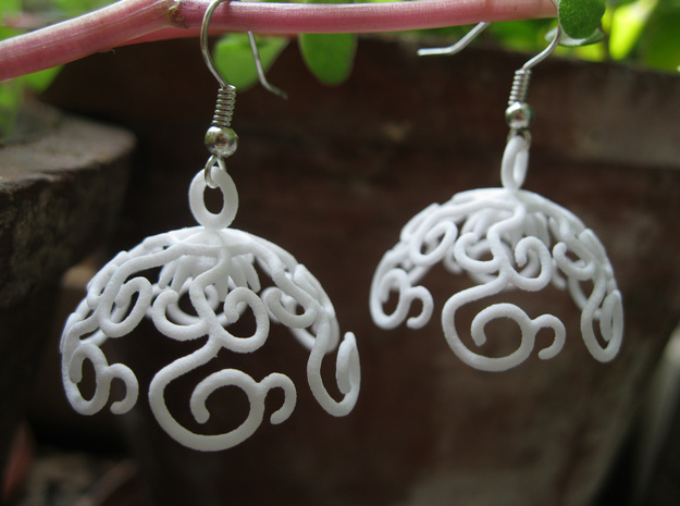 Flower Vine Jhumka - Indian Bell Earrings in White Strong & Flexible Polished