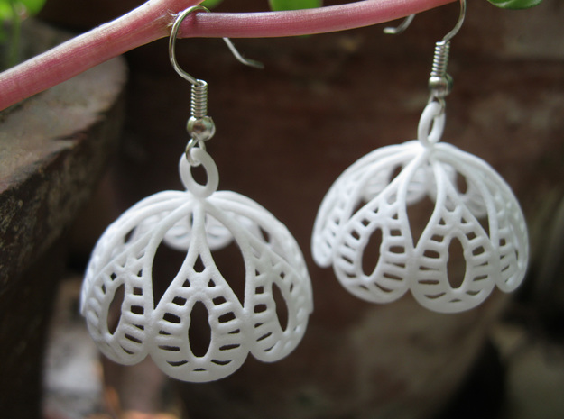 Water Lily Jhumka - Indian Bell Earrings in White Strong & Flexible Polished