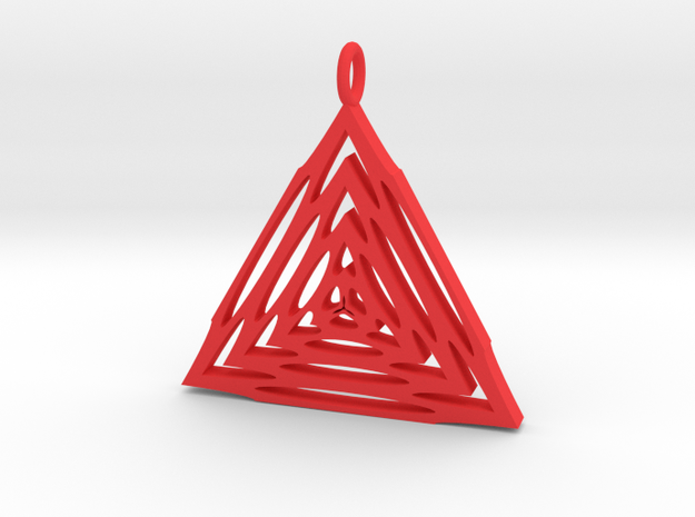 Trianglular Pendant in Red Processed Versatile Plastic