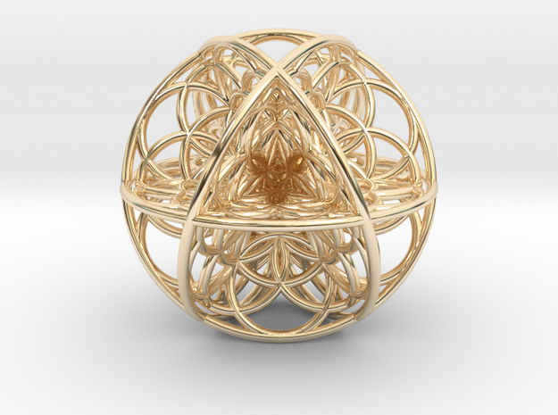 Seed Of Life Sacred Geometry 35x1.2mm in 14k Gold Plated Brass