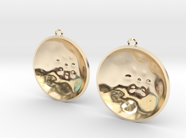 "Double Tenor ""surface"" steelpan earrings, L in 14k Gold Plated Brass"