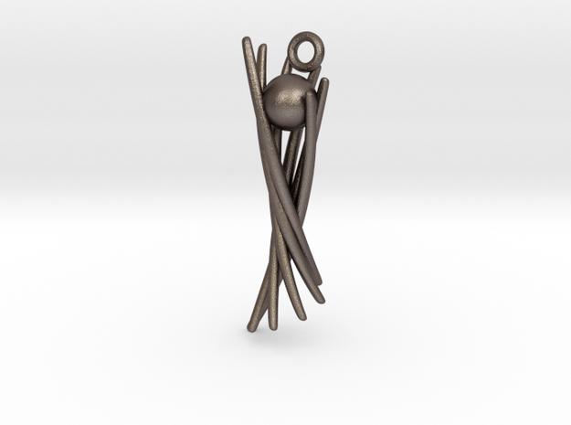 Fancy Ball Basket in Polished Bronzed Silver Steel