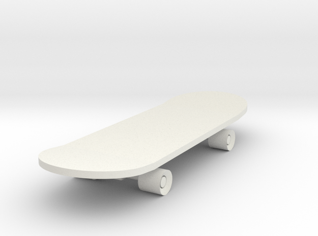 Skateboard in White Natural Versatile Plastic