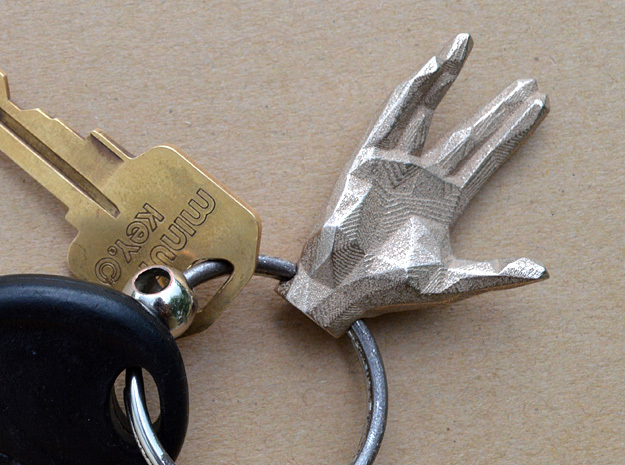 Faceted Spock Hand Keychain - Vulcan salute in Polished Bronzed Silver Steel