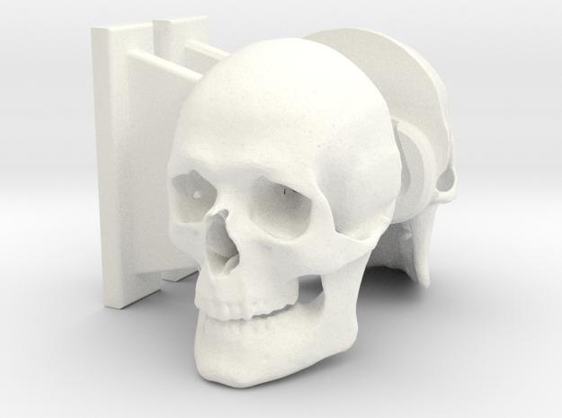 Skull Toilet Paper Holder in White Strong & Flexible Polished
