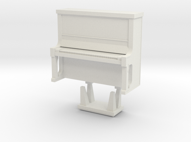 Piano With Bench - HO 87:1 Scale in White Natural Versatile Plastic