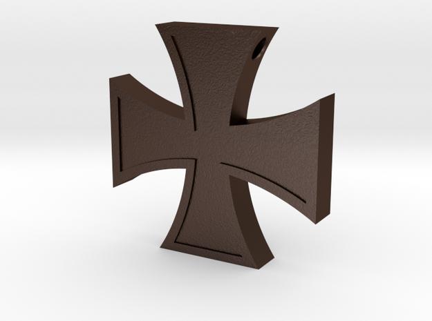 Iron Cross Pendant Revised in Matte Bronze Steel
