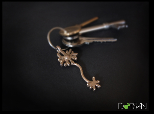 Neuron Keychain, Pendant in Polished Bronzed Silver Steel