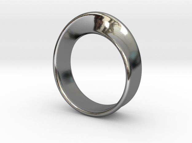 Moebius Ring 16.5 in Fine Detail Polished Silver
