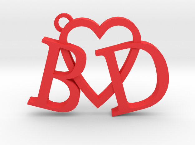 B love D (Key chain - Pendant) in Red Strong & Flexible Polished