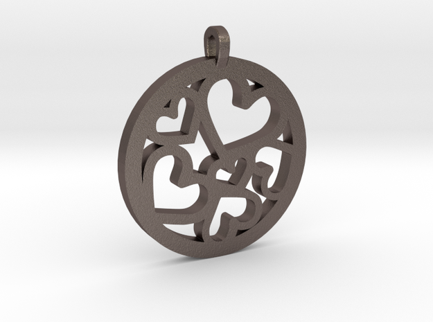 Hearts Pendant in Polished Bronzed Silver Steel