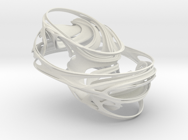 4D Quaternion Julia Set, 3/50 in White Natural Versatile Plastic