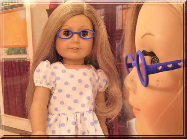 Glasses for 18 Inch Doll in Blue Processed Versatile Plastic