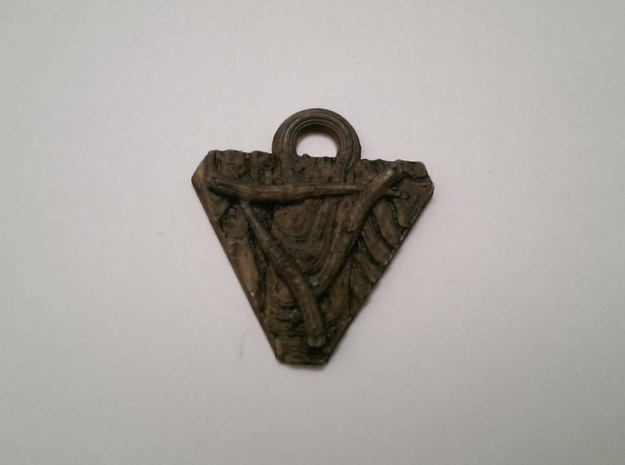 Skaven Shield keychain in Polished Bronzed Silver Steel