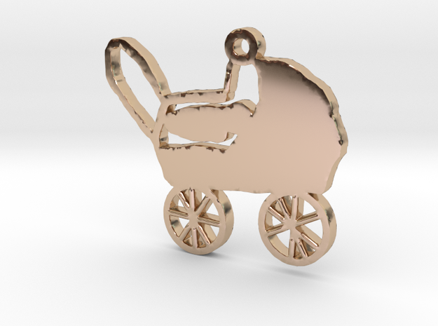 Baby Carriage Necklace Pendant in 14k Rose Gold Plated Brass