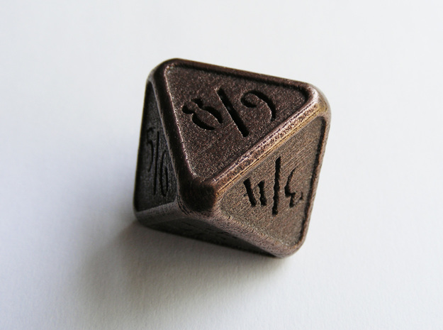 'Simple' D8 Tarmogoyf P/T balanced die in Polished Bronze Steel